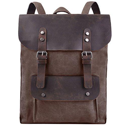 Jack&Chris Vintage Canvas Leather Laptop Backpack Shoulder Bag Rucksack Satchel, MC2166 (coffee) ()
