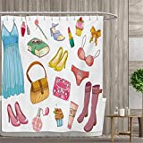 smallfly Heels and Dresses Shower Curtain Collection by Fashionable Girlish Items Cartoon Style Cosmetics Boots Cupcakes Lipstick Patterned Shower Curtain 66''x72'' Multicolor