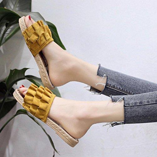 Plage Pantoufles Sandales Solid Femmes de Talon Sandales Haut Femmes Couleur Orteil Jaune Talon Ronde Spartiate Beautyjourney Sandales Chaussures Talon Bas Sandale UZzHnH