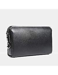 GCCLCF Bolsos de Embrague de Cuero Real para Hombres Cremallera Grande Alrededor de Bolso de Mano Bolsa de Negocios handba Cuero Genuino para Tarjeta de crédito iPad Efectivo,Black