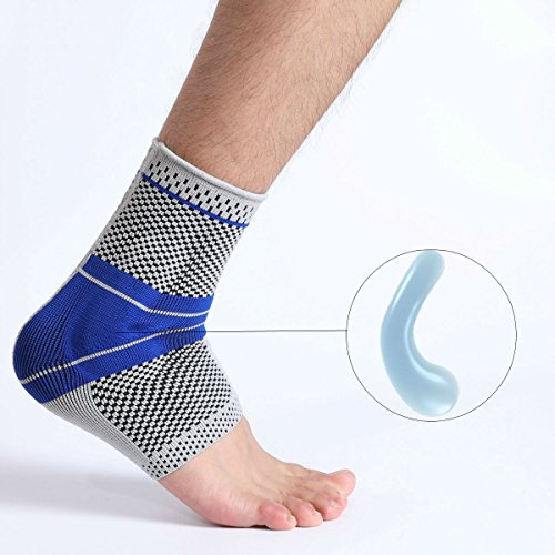 Ankle Brace, Elastic & Breathable Ankle Support Compression Sleeves Ankle Stabilizer/Foot Protection Socks with Silicone Pad for Sprain Relieves Pain Running Men Women – Single Large