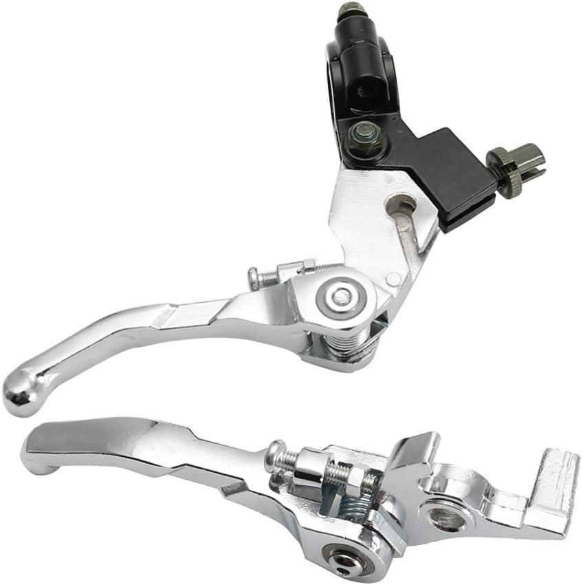 pi/èces d/'Embrayage Pit Dirt Bike Modified Parts leviers de Frein pliants en Alliage d/'Aluminium Yctze Levier d/'Embrayage de Guidon de 7//8 Silver