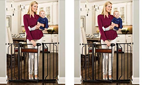 Regalo Home Accents 43-Inch Extra Wide Walk Thru Gate, Home Décor Hardwood and Steel (2-(Pack))