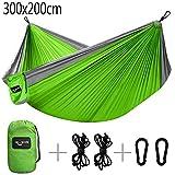 Camande Double Camping Hammock Travel Lightweight Parachute Portable Hammock for Outdoor Hiking Backyard Green (300 x 200cm)