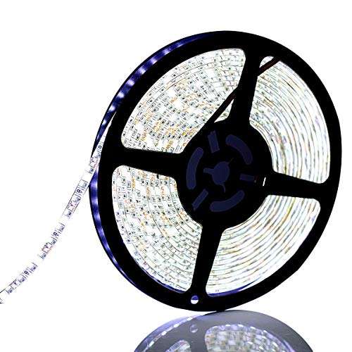 SUPERNIGHT SUPERNIGHT Daylight White LED Light Strip, 16.4ft Bright 600pcs LEDs Rope Lighting Waterproof with 12V 5A Power Adapter and RF Remote Controller Dimmer price tips cheap