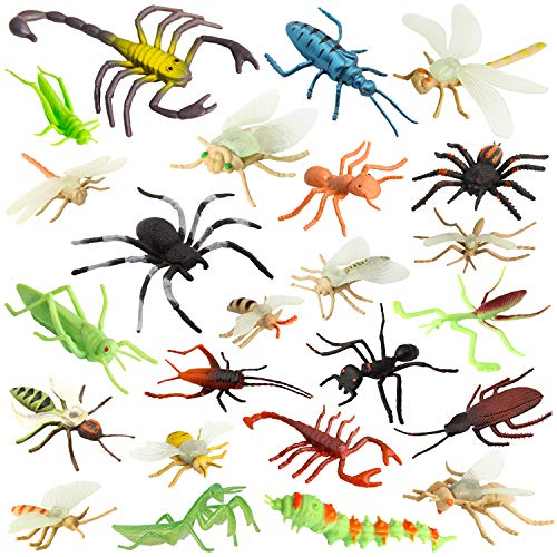"""Pinowu Insect Bug Toy Figures for Kids Boys, 2-4"""" Fake Bugs - Fake Spiders, Cockroaches, Scorpions, Crickets, Lady Bugs, Mantis and Worms for Education and Christmas Party Favors (24 Pack) ()"""