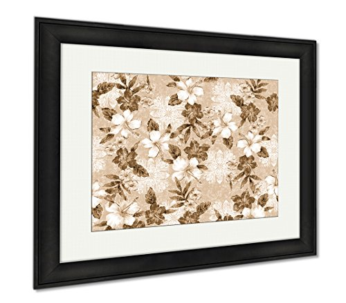 Ashley Canvas Hibiscus Pattern, Wall Art Home Decoration, Sepia, 34x40 (frame size), Black Frame, AG1540657 by Ashley Canvas
