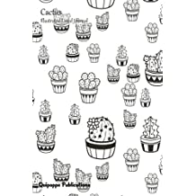 Cactus Illustrated Lined Journal: Medium College Ruled Notebook With Colorable Cacti In Mixed Pots Cover
