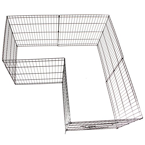 Idealchoiceproduct 42 Inch Pet Playpen Pet Pen Folding Wire Dog Exercise Pen Pet Fence Yard Fence 8 Panel Cage 24-42 Inch-Black Color