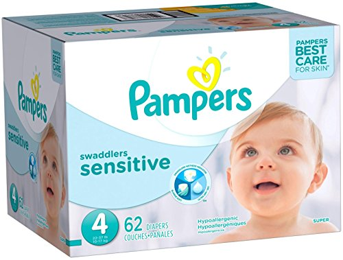 Pampers Swaddlers Sensitive Diapers Size 4, 62 Count