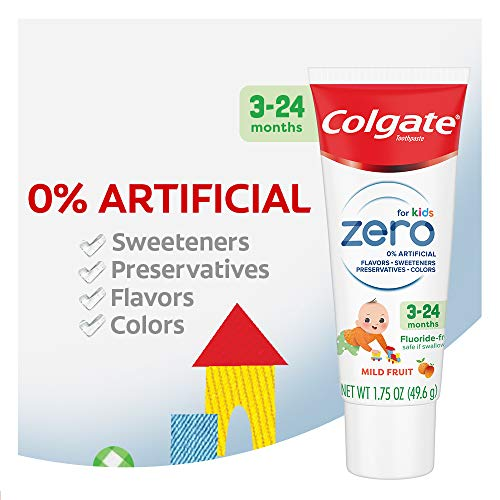 510ZDapS2CL - Colgate Zero Baby And Toddler Fluoride Free And SLS Free Toothpaste, Natural Mild Fruit - 1.75 Ounce