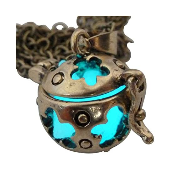 UMBRELLALABORATORY Wishing ball Fairy Magical Fairy Glow in the Dark Necklace-aqua-bronze 5
