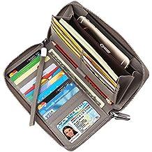 Dante Women's RFID Blocking Real Leather Zip Around Wallet Clutch Large Travel Purse Wristlet