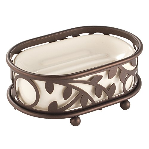 InterDesign Vine Bathroom Vanity Soap Dish, Vanilla/Bronze ()
