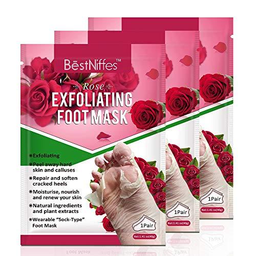 Foot Peel Mask 3 Pack, Exfoliating Foot Masks, Natural Exfoliator for Dry Dead Skin, Callus, Repair Rough Heels for Men Women (Aloe) (Rose)