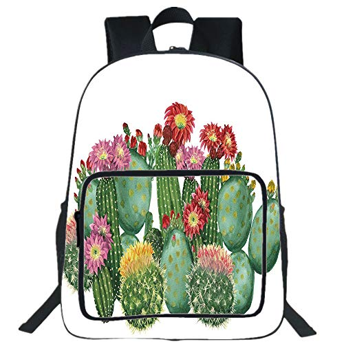 ge Capacity School Backpack,College Laptop Bookbag,Saguaro Barrel Hedge Hog Prickly Pear Opuntia Tropical Botany Garden Plants Decorative,for Kids & Adults Multicolor ()