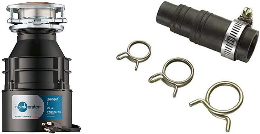 InSinkErator Garbage Disposal with Cord, Badger 1, 1/3 HP Continuous Feed & DWC-00 Dishwasher Connector Kit, Black