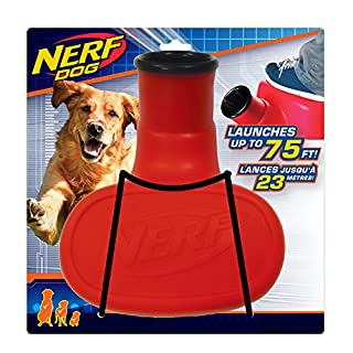 Nerf Dog Stomper with Interactive Tennis Ball Launcher, Great for Fetch, Launches up to 75 ft, Single Unit, Red and Blue/Orange