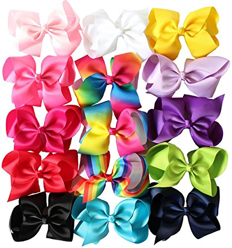 Price comparison product image iBiubiu 15PCS 6inch Large Hair Cheer Bows Clips For Teen Girls Big Boutique Bow