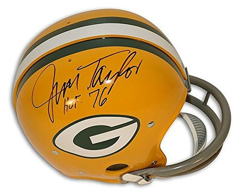 Throwback Helmet Rk (Autographed Jim Taylor Green Bay Packers NFL RK Throwback Riddell Proline Helmet Inscribed HOF 76 - Certified Authentic Signature)