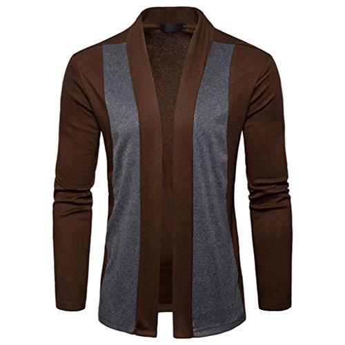 Victorcn Men's Spring Slim Cut Look Casual Patchwork Cardigan Knit Knitwear Coat Jacket (M, - Hipster Fasion
