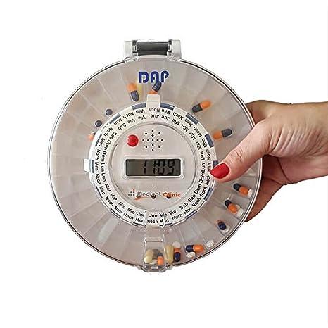 DAP es un pastillero electronico automatico con llave de seguridad y alarma, 28 compartimentos para medicamentos y temporizador, permite hasta 6 tomas ...