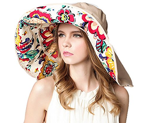 Gellwhu Women's Large Wide Brim Sun Hat Big Floppy Fishing Hat Bucket Hat (Beige) (For Brim Hats Big Women)