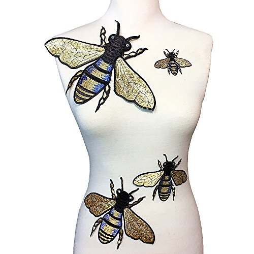 Bee Applique - Super Insect Series Gold Embroidery Garment Decoration Accessories - Bee Full Embroidery Patch(4 Pcs Patch)