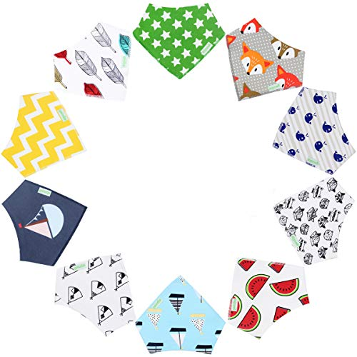 10-Pack Unisex Baby Bandana Drool Bibs for Babies,Toddlers - Organic Cotton Absorbent Bib Bandana (Neutral Pattern) ()