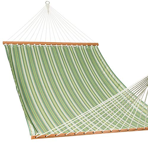 Lazy Daze Hammocks Sunbrella Fabric Hammocks with Spread Bar and Handcrafted Polyester Rope for Two Person, Fade Resistant, 450 lbs Capacity, All Weather Foster Surfside ()