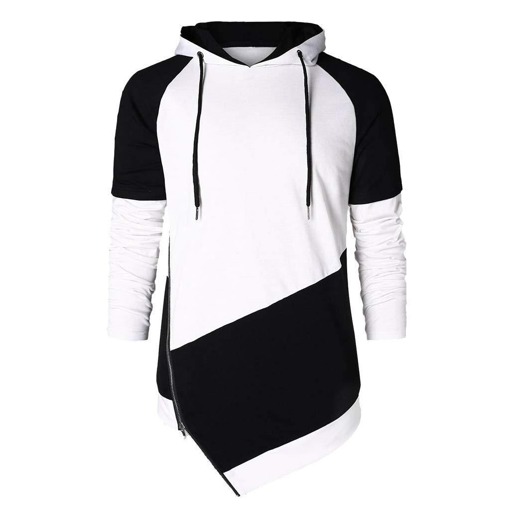 Mens Hoodie Hit Color Hooded Pullover Irregular Hem Long Sleeve Sweatshirt Zulmaliu