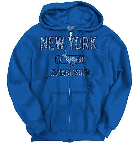 Brisco Brands New York State Pride T Shirt State Flag USA Deer Shirt Gift Zip Hoodie (Staten Deer Island)