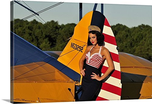 Glamour Vintage Blouse (Christian Kieffer Premium Thick-Wrap Canvas Wall Art Print entitled 1940's style pin-up girl leaning on the tail fin of a Stearman biplane 36