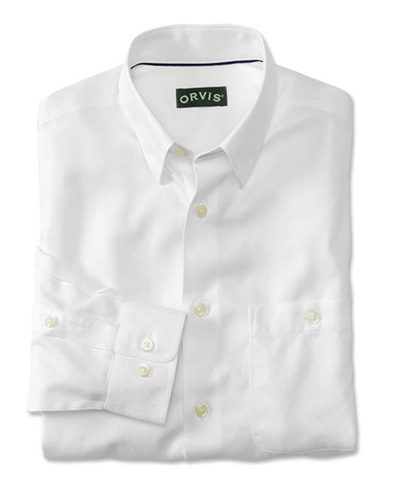 Orvis Men's Hidden-Button-Down Wrinkle-Free Cotton Twill Shirt/Regular, White, X Large