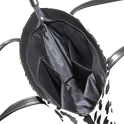Coosun De Pu Monedero Bolsos Bolsa Bolso La Y Del Las Medio Mujeres Asas Muticolour Negro Cuero Blanco Tigre Para 4wx0rXq4g