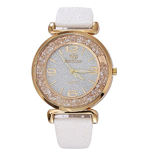 Watch, Womens Watch, Fashion Women Crystal Stainless Steel Leather Band Analog Alloy Quartz Wrist Watch Retro Exquisite Luxury classic Bracelet Casual business Watches For Ladies Teen Girls (White)