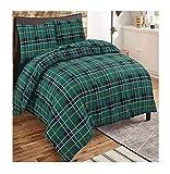 MA Online Soft Comfortable Thermal Tartan Flannelette Duvet Covers Set Pillow Cases Duvet Set Green Tartan Super King
