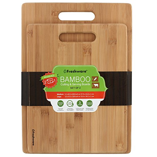 Freshware Bamboo Cutting Board, Set of 2
