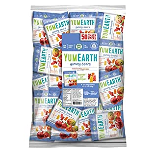 YumEarth Gluten Free Gummy Bears, Assorted Flavors, 0.7 Ounce Snack Packs, 50 pack - Allergy Friendly, Non GMO (Packaging May Vary)