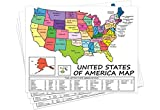 "United States Map - USA Poster, US Educational Map - with State Capital - for Ages Kids to Adults- Home/School/Office - Printed on 12pt. Glossy Card Stock - 8.5"" x 11"" Inches"