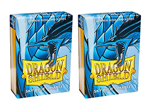 Dragon Shield Bundle: 2 Packs of 60 Count Japanese Size Mini Matte Card Sleeves - Matte Sky Blue by Dragon Shield