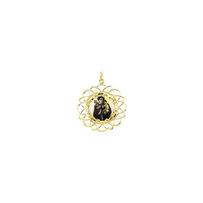 diamondjewelryny 10 Kイエロー25 mm St Anthonyフレームエナメルペンダント B07D562HGH