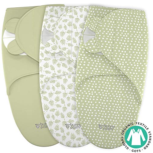 Newborn Organic Cotton Pack - Swaddle Blanket for Baby, Newborn Boy or Girl Adjustable Sleepsack, Unisex, Organic Cotton Swaddle Wrap Set 3 Bags in Pack for Infant, Soft Blankets with White Green Neutral Designs