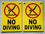 2Pc Heart-stopping Unique No Diving Symbols Signs Plastic Declare Swiming Warning Message Pools Rules Decor Pool Poster Stand Decal Lifeguard On Duty Swimming Sign Post Danger Size 8''x12'' w/ Grommets