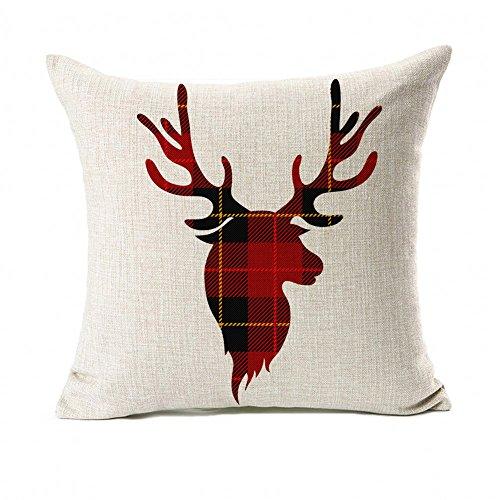 Red Black Plaids Deer Throw Pillow Cover Christmas Cushion Case Winter Home Decorative 18 x 18 Inch Cotton Linen (Christmas Plaid)