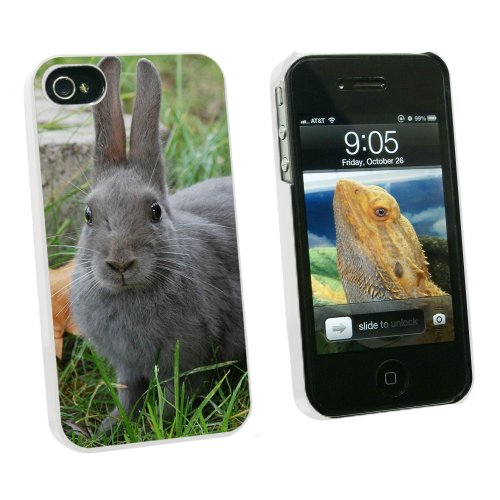 Graphics and More Bunny Rabbit Gray - Easter - Snap On Hard Protective Case for Apple iPhone 4 4S - White - Carrying Case - Non-Retail Packaging - White