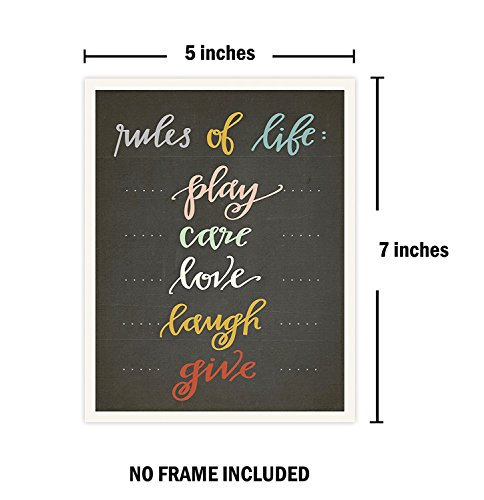 The Rules Mini Collection 18x24 Inch Canvas Wall Art Prints, Typography, Nursery Decor, Kid's Wall Art Print, Kid's Room Decor, Gender Neutral, Motivational Word Ar by Children Inspire Design (Image #1)