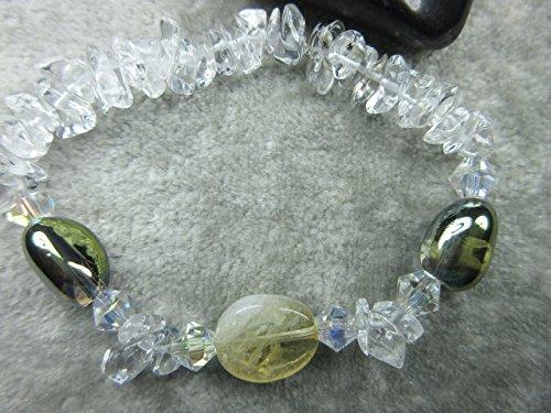 Champagne Quartz Bracelet - Genuine Citrine, Champagne Aura Quartz and Quartz Healing Stretch Bracelet