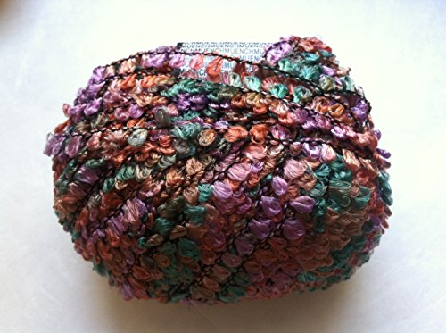 Muench Fabu Boucle Ribbon Yarn - #4321 Turquoise Copper Lilac Brown 50 Gram