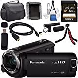 Panasonic HC-W570 HC-W570K HD Camcorder + Sony 64GB SDXC Card + Lens Cleaning Kit + Flexible Tripod + Carrying Case + Memory Card Wallet + Card Reader + Mini HDMI Cable + Condenser Mic Bundle